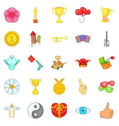 Enjoyment icons set cartoon style vector