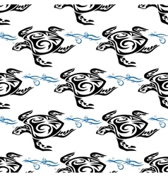 Turtle swimming in the sea seamless pattern vector