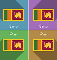 Flags Sri Lanka Set of colors flat design and long vector image