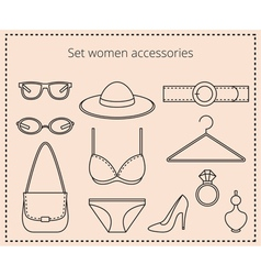 Line drawing set women accessories vector image