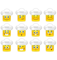 Smileys in white caps vector
