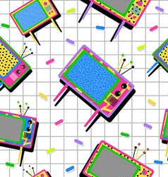 Retro vintage 80s tv seamless pattern background vector