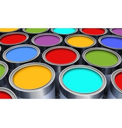 Metal bright cans with colorful paint vector