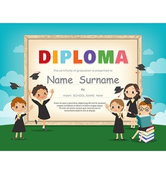 School kids diploma certificate background design vector