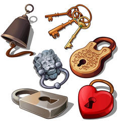 Ancient modern and romantic padlocks with keys vector