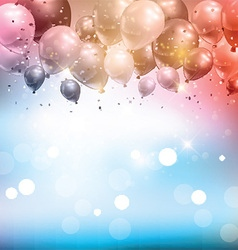 Balloons and confetti background vector image