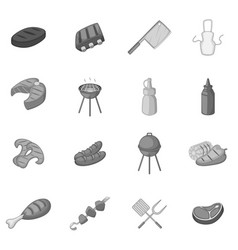 Bbq icons set monochrome vector