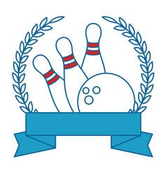 bowling sport emblem vector image vector image