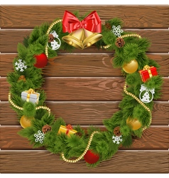 Christmas Wreath on Wooden Board 2 vector image vector image