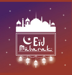 Colorful background silhouette eid mubarak with vector