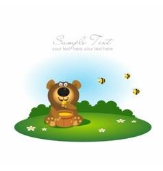 cute bear eating honey vector image