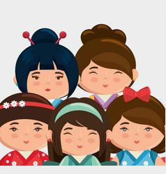 Cute japanese girls group kawaii style vector