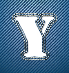 Denim jeans letter Y vector image