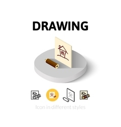 Drawing icon in different style vector image