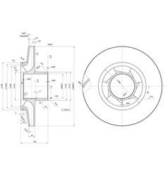 Engineering sketch of wheel with span vector