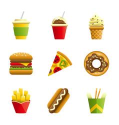 Fast food cartoon icon set vector