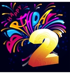 Fireworks Happy Birthday with a gold number 2 vector image vector image