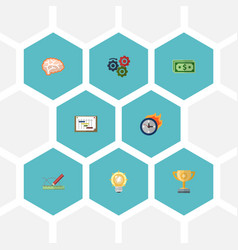 flat icons design gear cash and other vector image