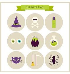 Flat Magic Witch Icons Set vector image