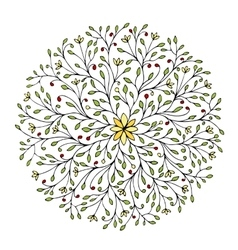 Floral circle ornament hand drawn sketch for your vector
