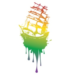 Frigate ship grunge2 vector