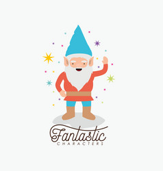 gnome fantastic character greeting expression with vector image vector image