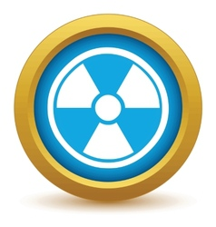 Gold nuclear icon vector image