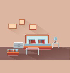 Home room interior bedroom furniture with bed vector