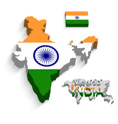 india 3d flag and map vector image