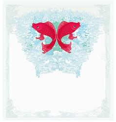 Japanese red koi background vector
