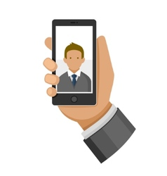 Man making selfie photo on phone flat icon vector