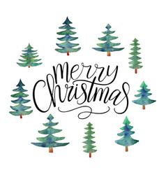 merry christmas text calligraphic with vector image