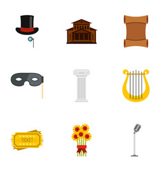 Opera icons set flat style vector