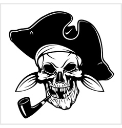 Pirate with pirate hat and pipe vector image