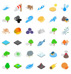 planet earth icons set isometric style vector image vector image
