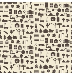 Real estate and construction icon silhouette set vector image