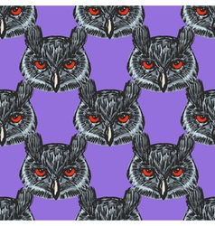 Seamless background with owl vector