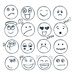 Set of hand drawn faces moods isolated vector
