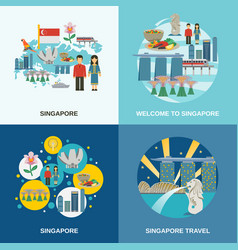 singapore culture 4 flat icons composition vector image vector image