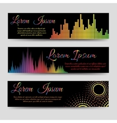 Soundwaves horizontal banners vector