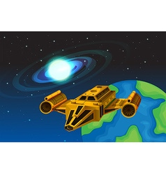 Spaceship flying away from the earth vector image vector image