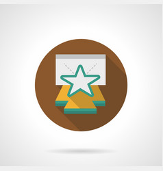 Star on stage brown round icon vector