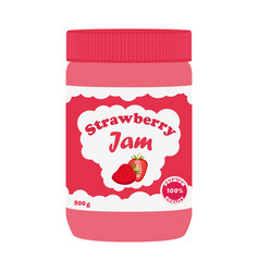 Strawberry jam in glass jar made in flat style vector