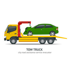 tow truck city road assistance service evacuator vector image