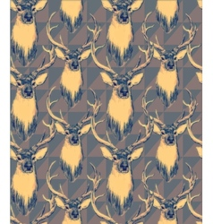 Vintage style seamless pattern with deer heads vector