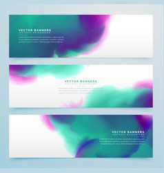 watercolor banner set of three vector image vector image