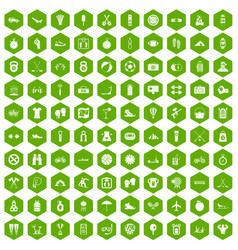 100 active life icons hexagon green vector