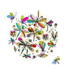 Dragonfly collection sketch for your design vector
