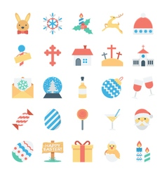 Christmas and easter colored icons 4 vector