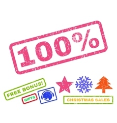 100 percent rubber stamp vector